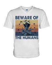 Beware Of The Humans V-Neck T-Shirt thumbnail