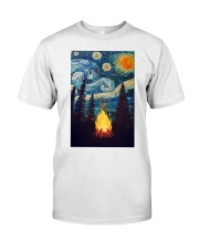 Campfire Starry Night Art Poster Classic T-Shirt thumbnail