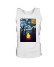 Campfire Starry Night Art Poster Unisex Tank tile
