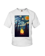 Campfire Starry Night Art Poster Youth T-Shirt thumbnail