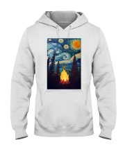 Campfire Starry Night Art Poster Hooded Sweatshirt thumbnail