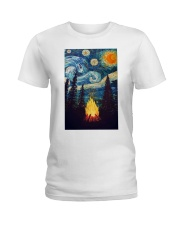 Campfire Starry Night Art Poster Ladies T-Shirt thumbnail