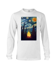 Campfire Starry Night Art Poster Long Sleeve Tee thumbnail