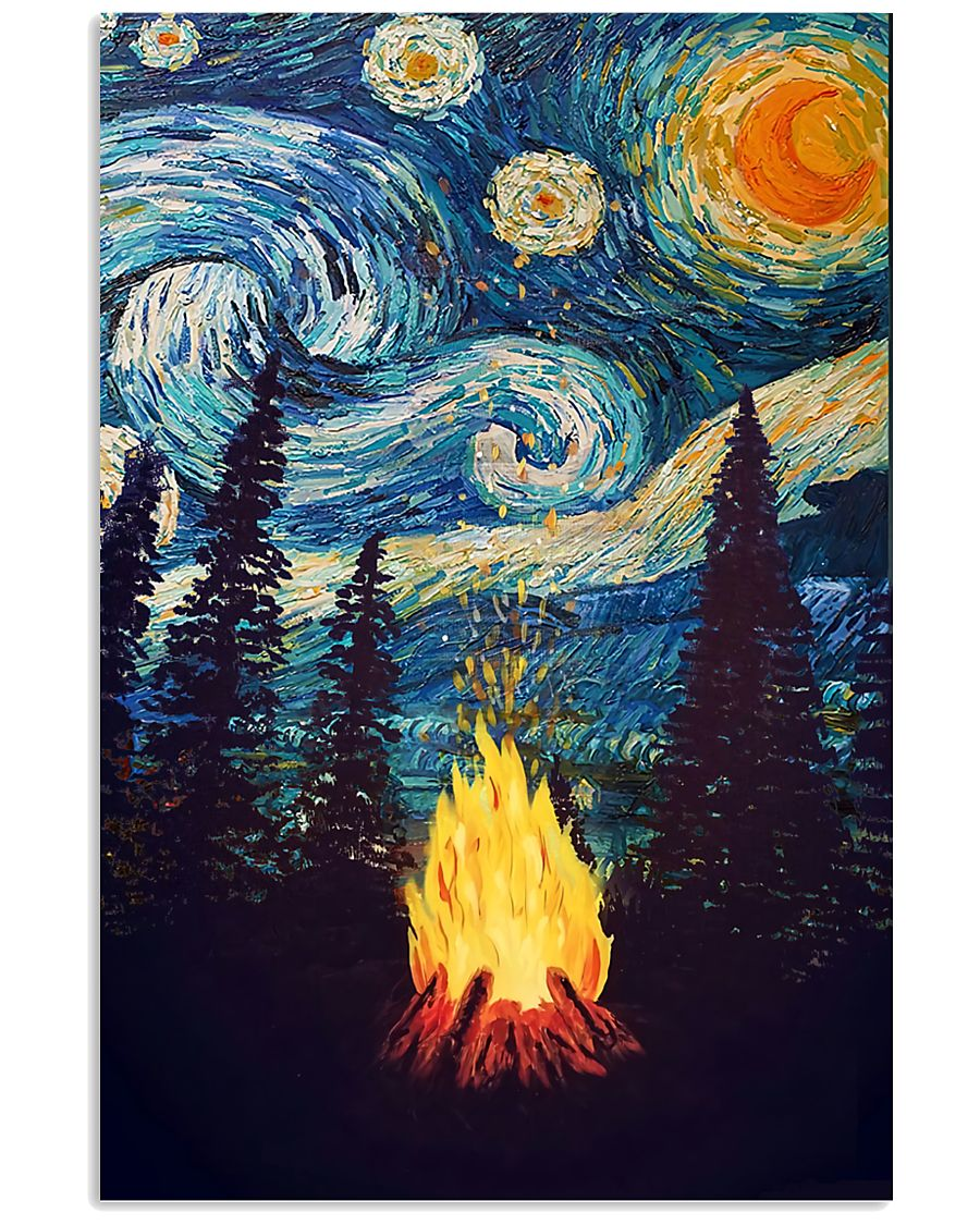 Campfire Starry Night Art Poster 11x17 Poster