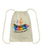 Peace Love Music Drawstring Bag thumbnail