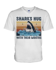 Sharks Hug With Their Mouths V-Neck T-Shirt thumbnail