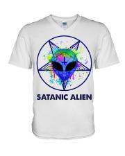Satanic Alien V-Neck T-Shirt thumbnail