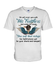 He Will Cover You V-Neck T-Shirt thumbnail