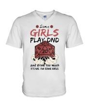 Some Girls Play Dnd V-Neck T-Shirt thumbnail