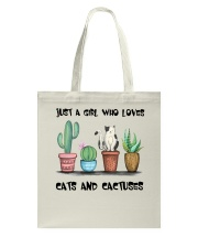 A Girl Loves Cats And Cactuses Tote Bag thumbnail