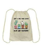 A Girl Loves Cats And Cactuses Drawstring Bag thumbnail
