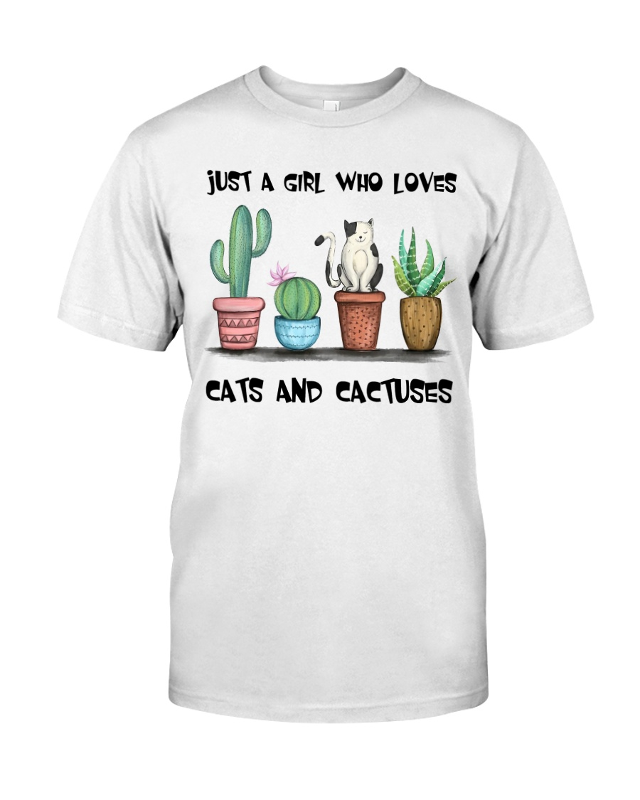 A Girl Loves Cats And Cactuses Classic T-Shirt