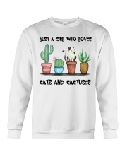 A Girl Loves Cats And Cactuses Crewneck Sweatshirt thumbnail