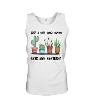 A Girl Loves Cats And Cactuses Unisex Tank thumbnail