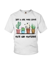 A Girl Loves Cats And Cactuses Youth T-Shirt thumbnail