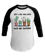 A Girl Loves Cats And Cactuses Baseball Tee thumbnail