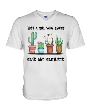 A Girl Loves Cats And Cactuses V-Neck T-Shirt thumbnail