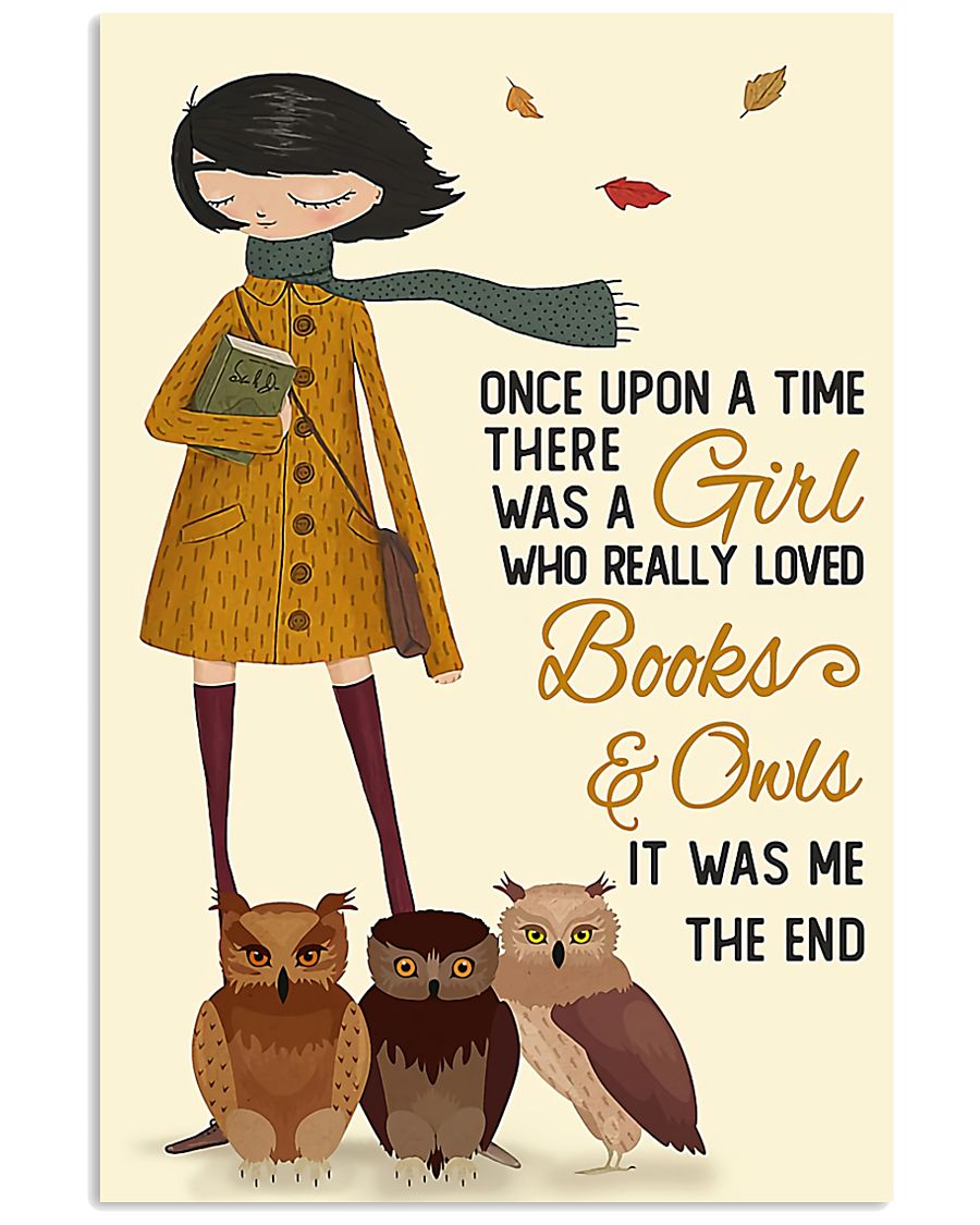 reading owls autumn girl once upon 11x17 Poster