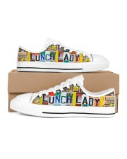 shoe plate lunch lady   Women's Low Top White Shoes inside-left-outside-left