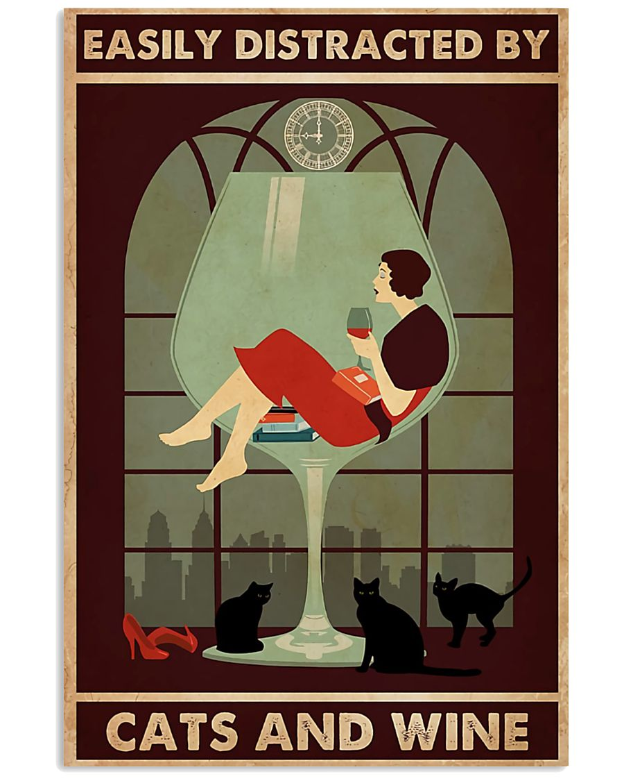 wine and cats poster 11x17 Poster