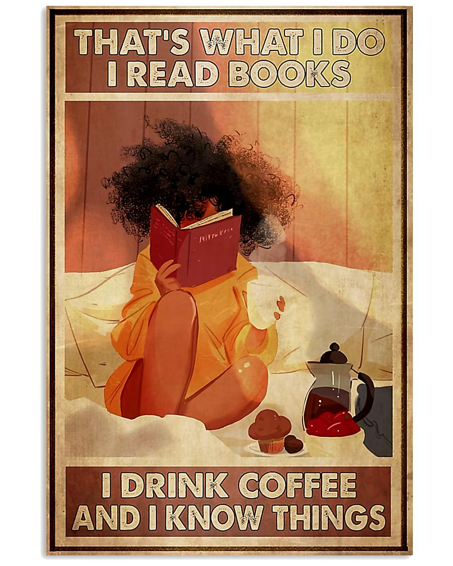 Afro Girl Reading And Drink Coffee 11x17 Poster