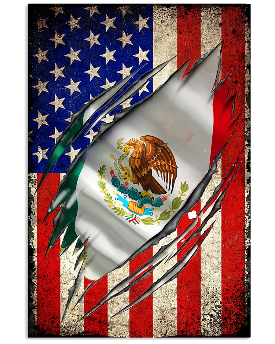 us flag mexican 11x17 Poster