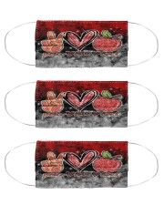 lunch lady peace love lunch mas Cloth Face Mask - 3 Pack front