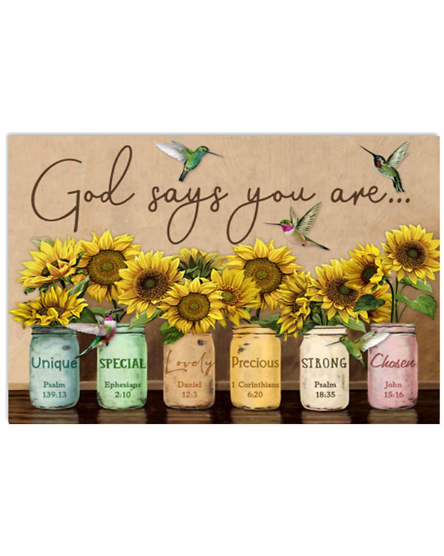 Sunflower - Hummingbirds - God Says 17x11 Poster