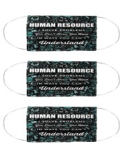 human resource shirt solve problems mas  Cloth Face Mask - 3 Pack front