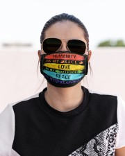 lgbt hippie humanity is my race mas  Cloth Face Mask - 3 Pack aos-face-mask-lifestyle-02