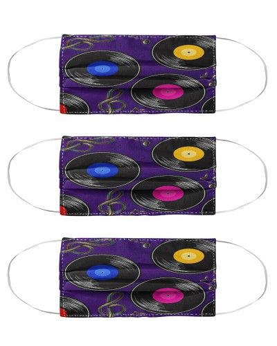 seamless music pattern with vinyl mas