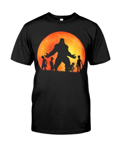 bigfoot and aliens under red moon