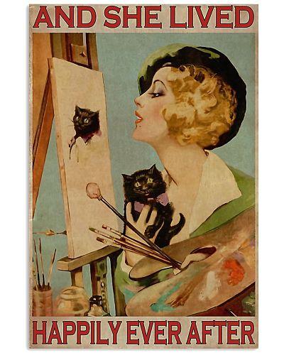 draw black cat girl poster