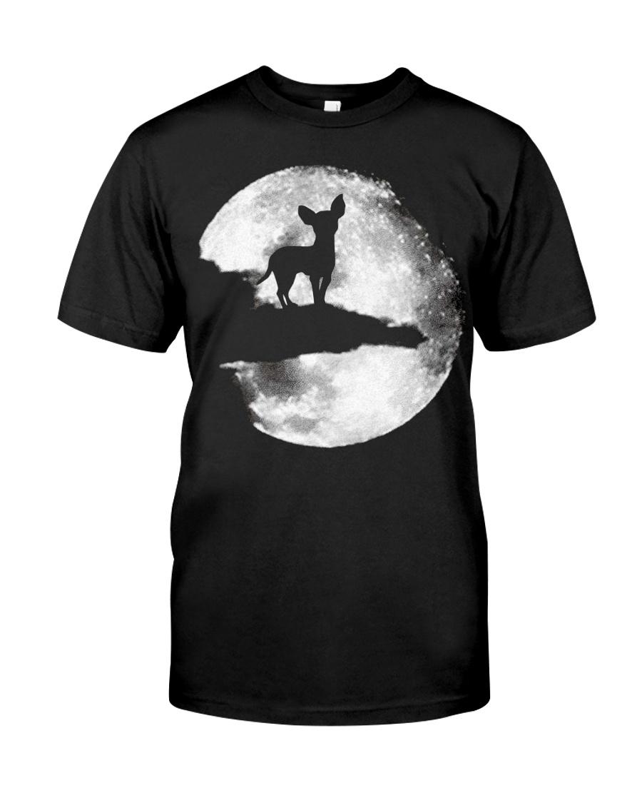 Mens Chihuahua And Moon Halloween T Shirt 3Xl Blac Classic T-Shirt