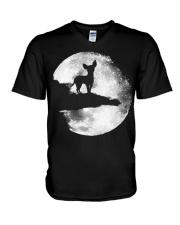 Mens Chihuahua And Moon Halloween T Shirt 3Xl Blac V-Neck T-Shirt thumbnail