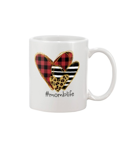 Love Momb life - Buffalo plaid heart Mug