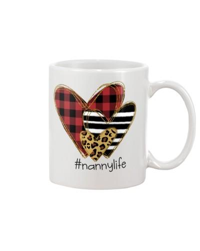 Love  nanny life - Buffalo plaid heart Mug
