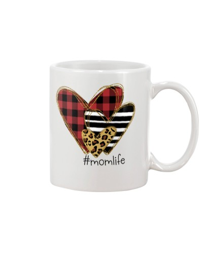 Love Mom life - Buffalo plaid heart mug