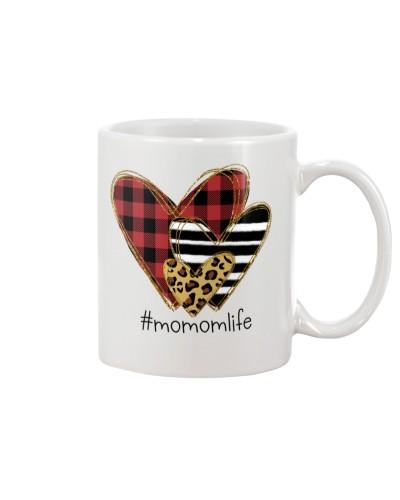 Love  momom life - Buffalo plaid heart Mug