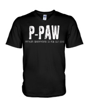 P-Paw Because Grandfather is for old guys V-Neck T-Shirt thumbnail