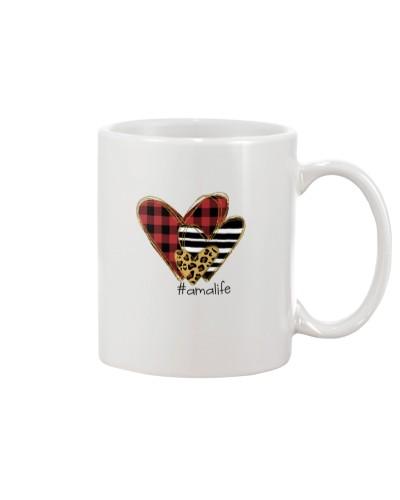 Love ama life - Buffalo plaid heart Mug