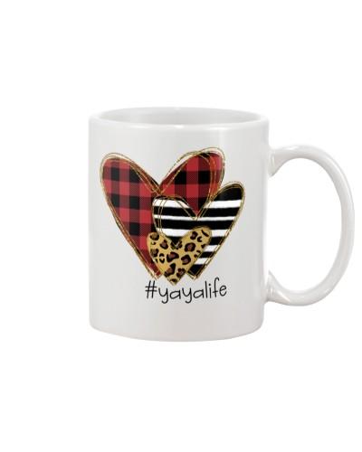 Love  yaya life - Buffalo plaid heart Mug