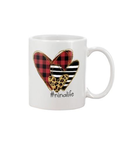 Love  nina life - Buffalo plaid heart Mug