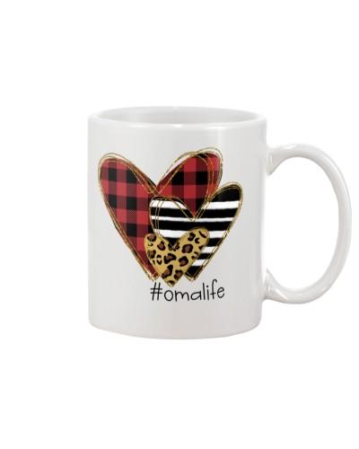 Love  oma life - Buffalo plaid heart Mug