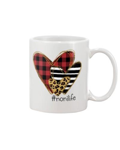 Love  noni life - Buffalo plaid heart Mug