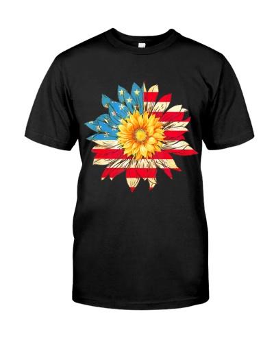 4Th Of July T Shirt Hoodie Sunflower American Usa