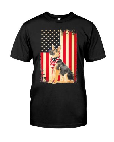 German Shepherd American Flag Shirt Independence 4