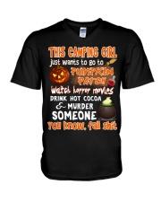 CAMPING GIRL PUMPKIN PATCH HALLOWEEN COSTUME V-Neck T-Shirt thumbnail
