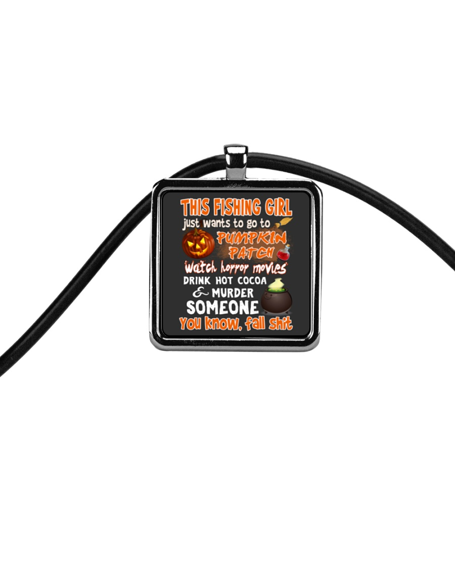 FISHING GIRL PUMPKIN PATCH HALLOWEEN COSTUME Cord Rectangle Necklace