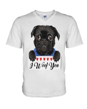 Pug I Woof You   V-Neck T-Shirt thumbnail
